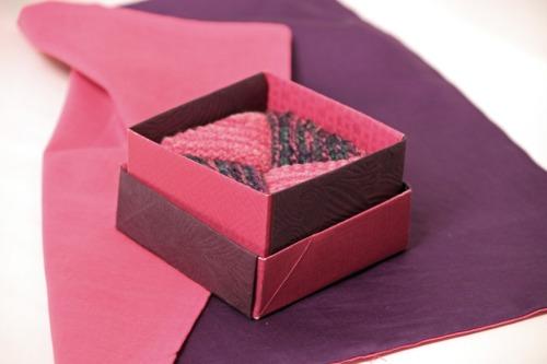gift with two-toned furoshiki cloth